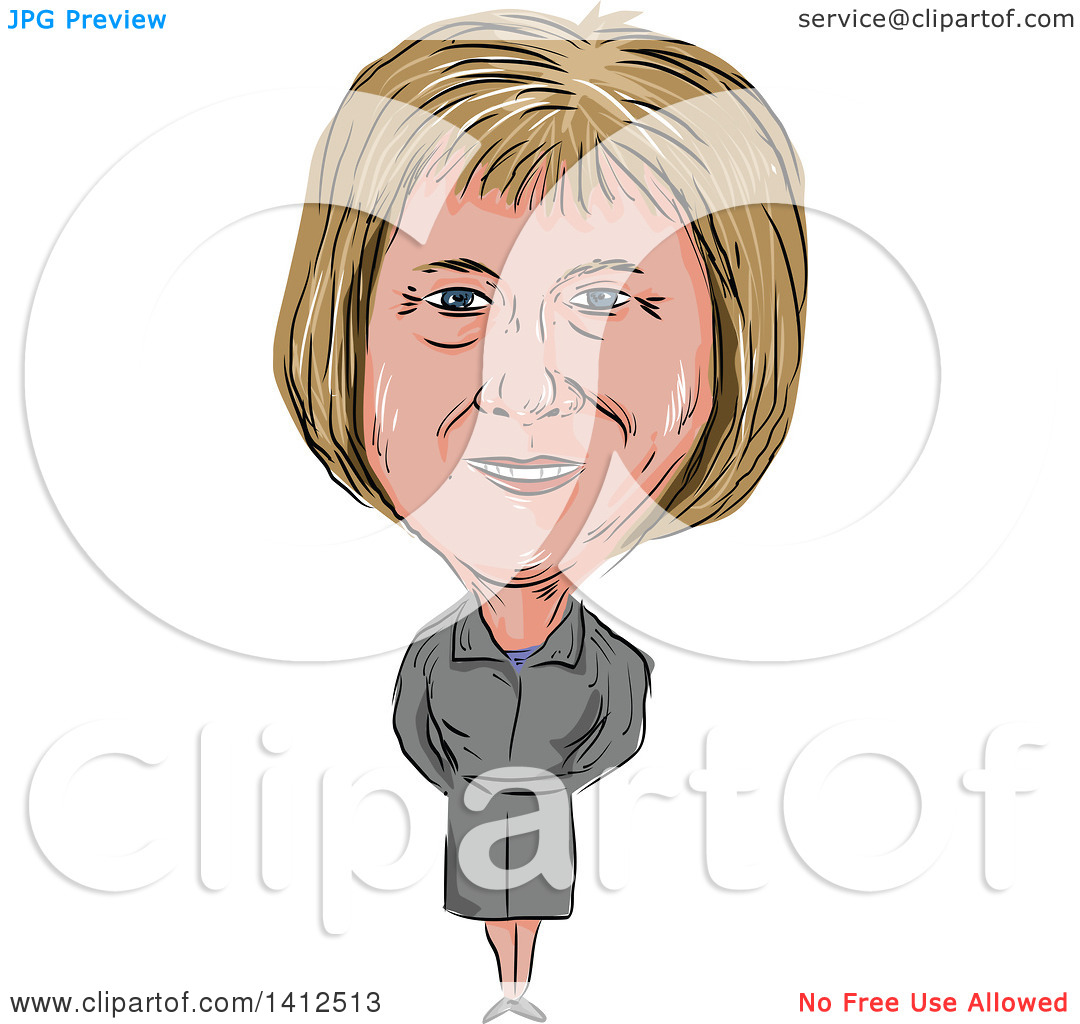 Clipart of a Sketched Caricature of Theresa Mary May, Prime.
