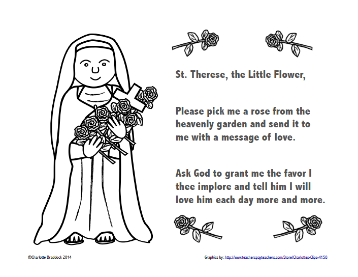 Classroom Freebies: Free St. Therese Color and Pray Printable.