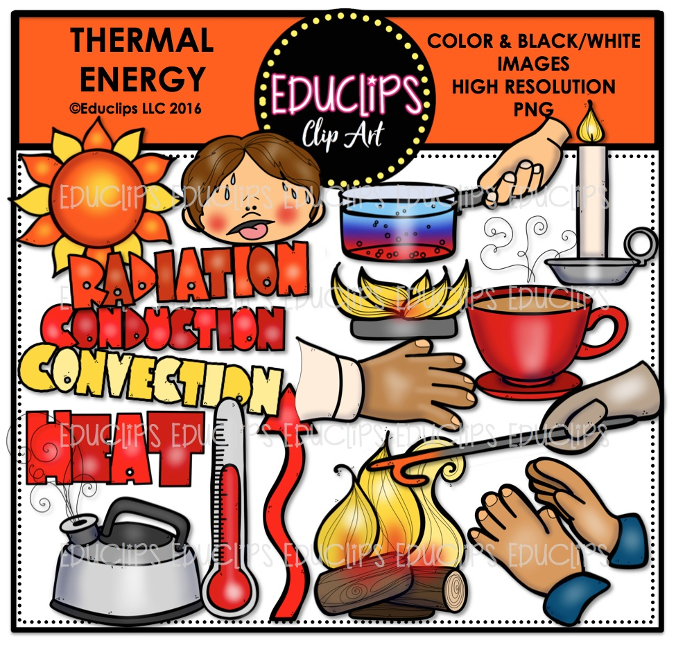 Thermal Energy Clip Art Bundle (Color and B&W).