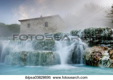 """Stock Image of """"Thermal waterfalls, travertine pools, Cascate del."""