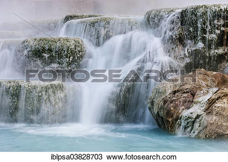 """Stock Photo of """"Thermal waterfalls, travertine pools, Cascate del."""
