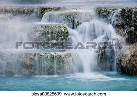 """Stock Photograph of """"Thermal waterfalls, travertine pools, Cascate."""