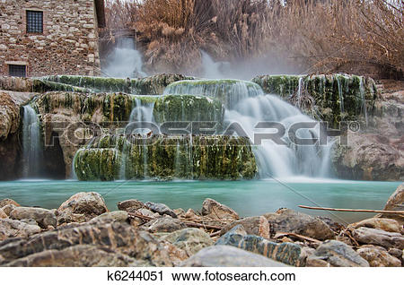 Stock Photography of Thermal water for bathing.Saturnia, famous in.