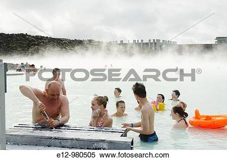 Stock Image of Iceland, Near Reykjavik, blue Lagoon, geothermal.