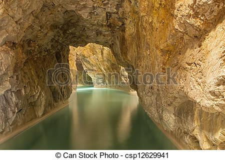 Stock Photo of Thermal Spa in a cave, Barlang Furdo in Northern.