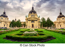 Pictures of The famous Szechenyi (Szechenyi) thermal Baths, spa.
