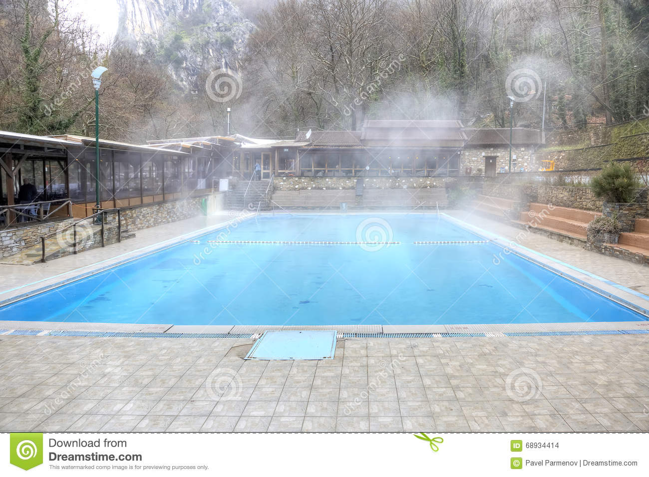 Thermal Spring With Swimming Pool In Mountain Stock Photography.