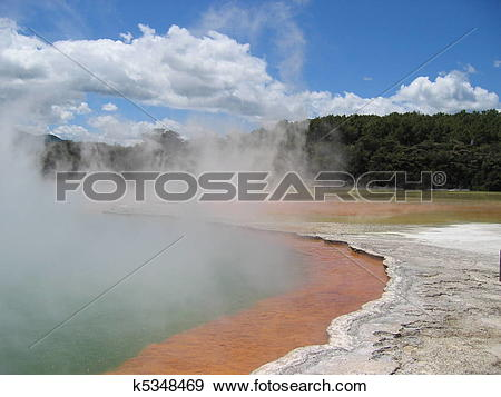 Stock Photograph of The Champagne Pool, a hot spring in an old.
