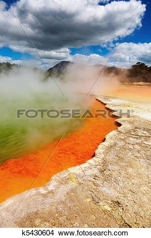 Stock Photo of Hot thermal spring, New Zealand k5430604.