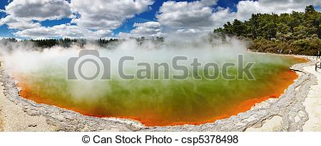 Pictures of Hot thermal spring, New Zealand.