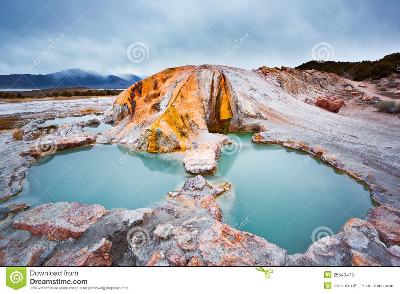Travertine Hot Springs California Stock Photo.