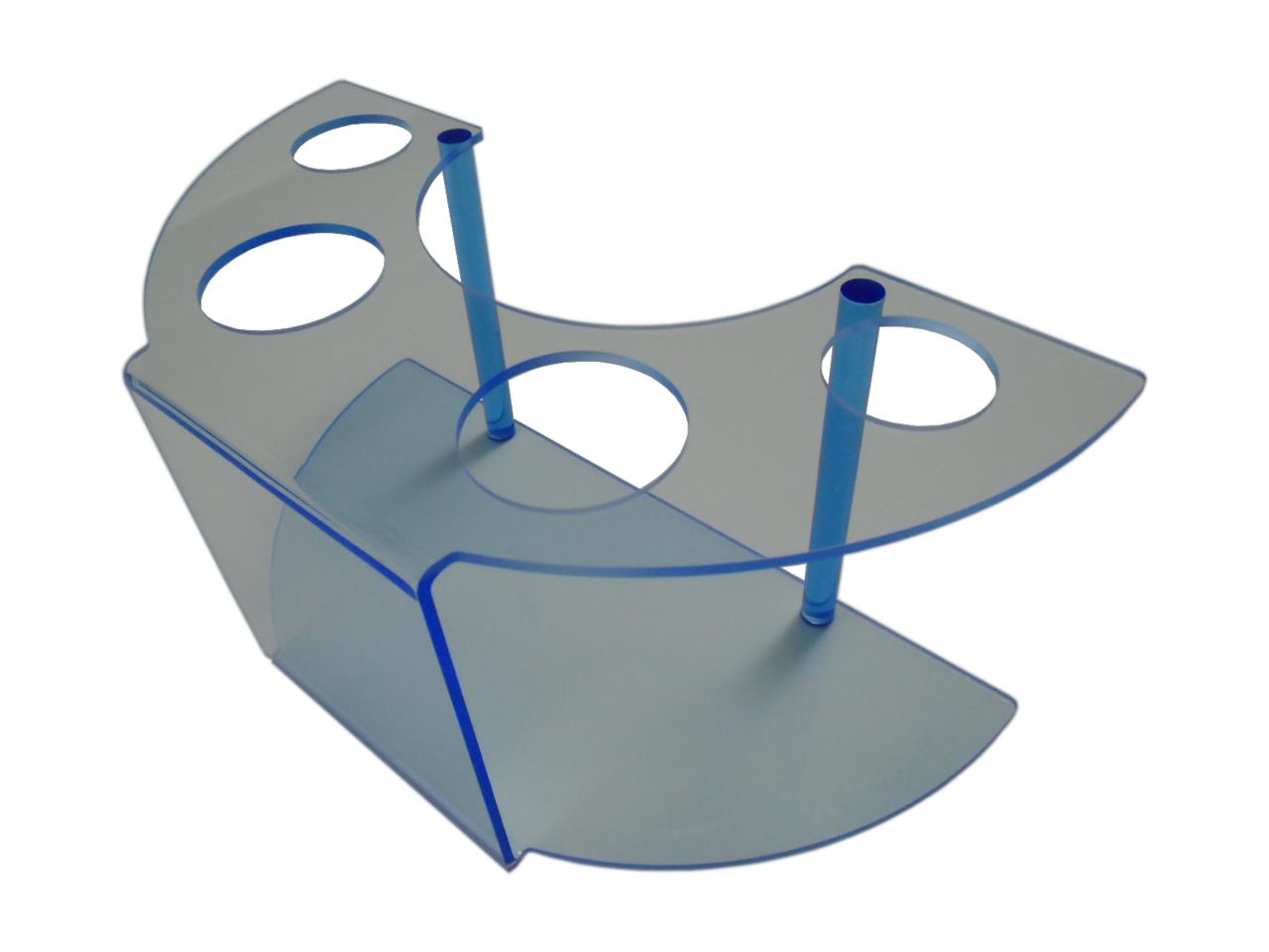 Waffeleishalter aus blau fluoreszierendem Acrylglas mit 4 Löchern.