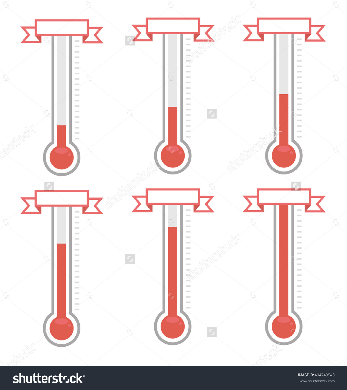 Vector Goal Thermometers Different Levels Stock Vector 404743540.