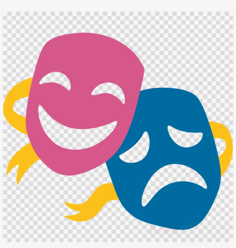 Theatre Mask Emoji Clipart Theatre Mask Performing PNG Image.