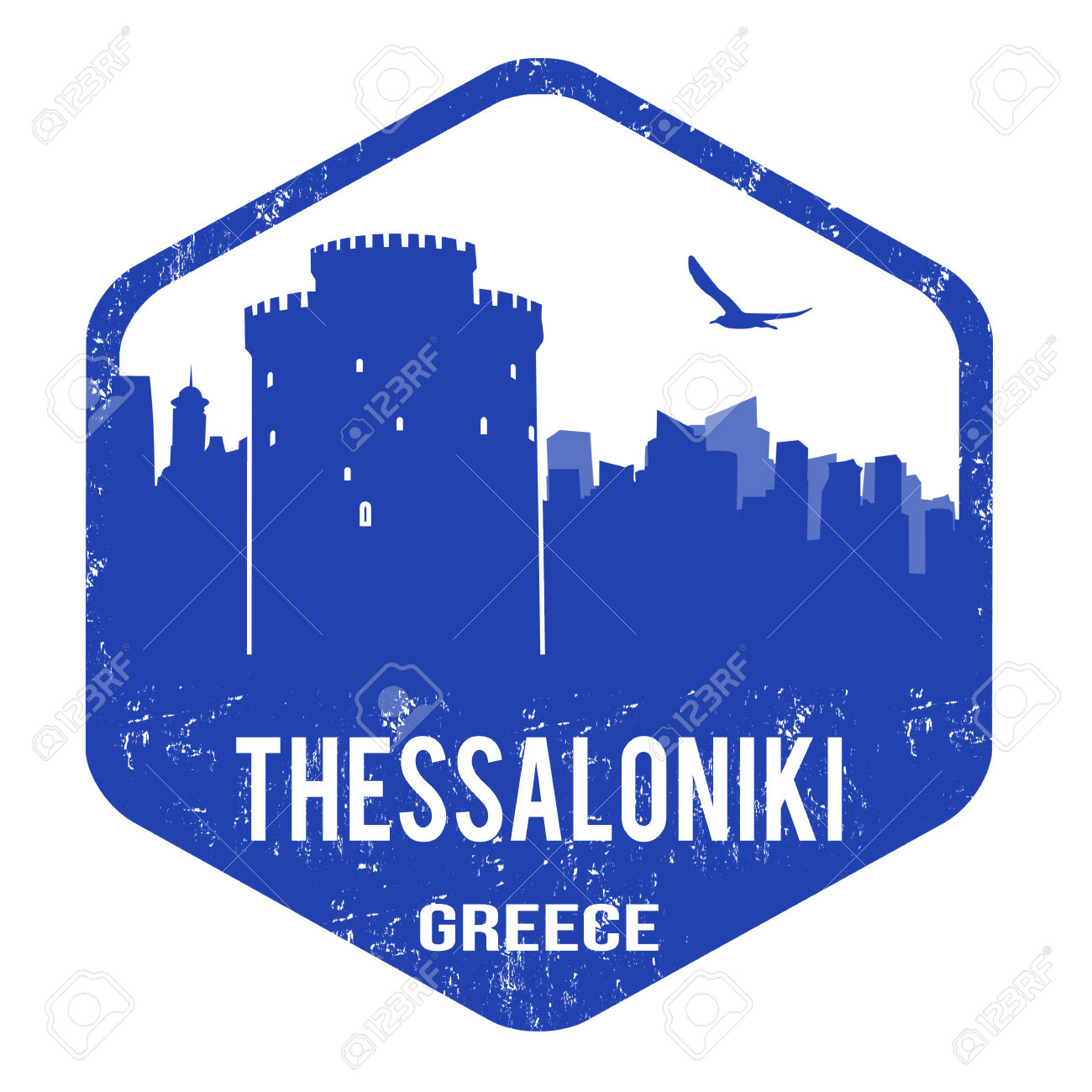 Thessaloniki Grunge Rubber Stamp On White, Vector Illustration.