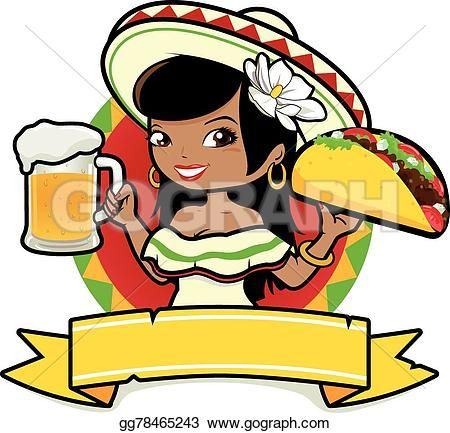 Mexican woman with beer and taco in 2019.