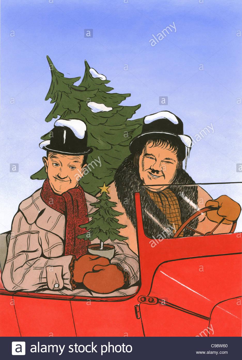 Thick And Stupid With Christmas Tree Auto Christmas Tree Stock.