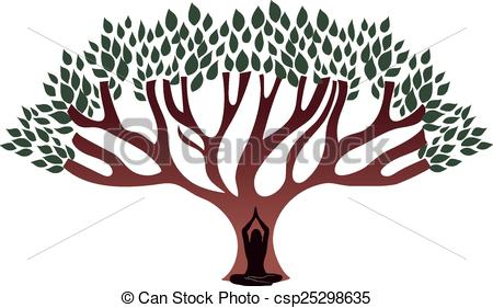 Vectors of Woman meditate under the big thick tree csp25298635.