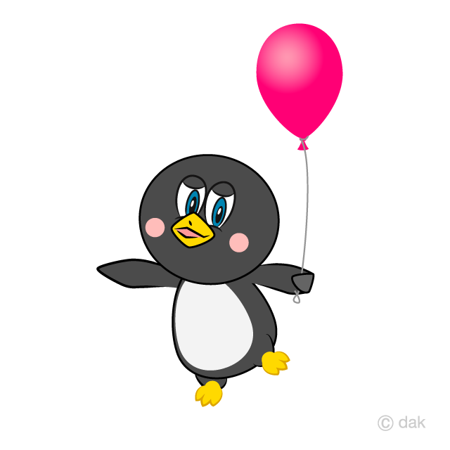 Free Cartoon Penguin with a Balloon Image|Illustoon.