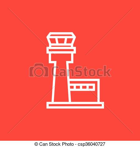 Vector Illustration of Flight control tower line icon..