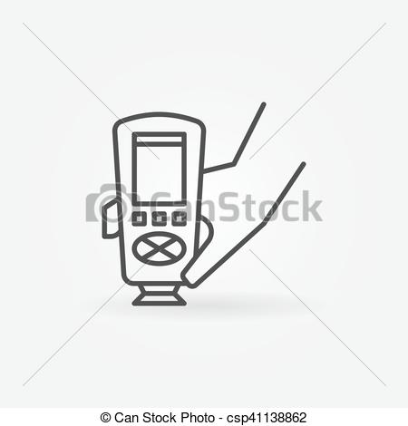 Clip Art Vector of Paint thickness gauge icon. Vector car paint.
