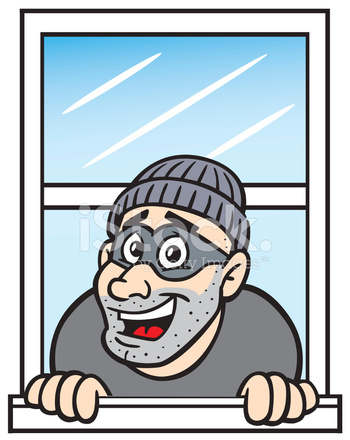 Cartoon Burglar IN Window Stock Vector.