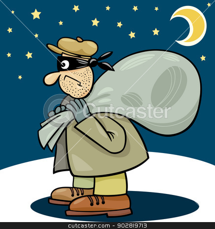 thief with sack cartoon illustration stock vector.