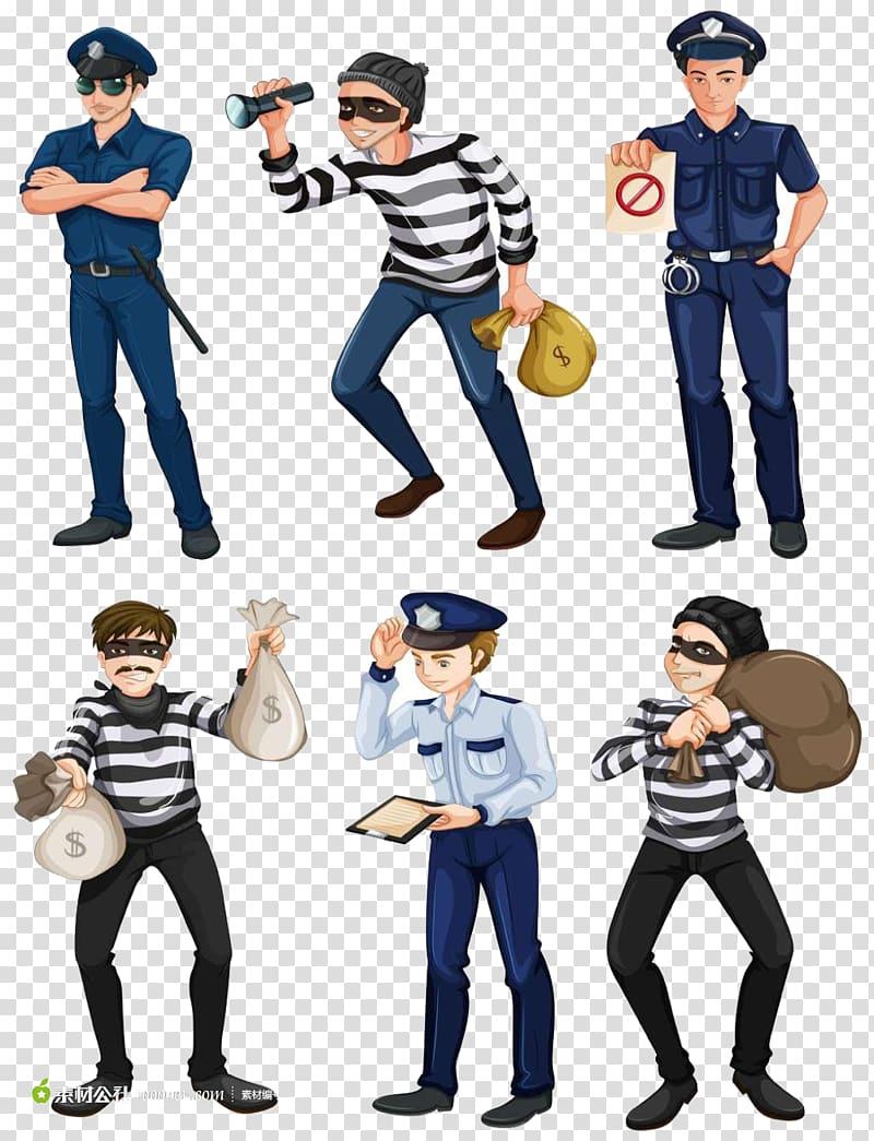 Police and thief illustration, Police officer Illustration.