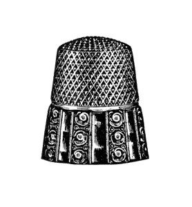 vintage sewing clipart, antique thimble image, black and.