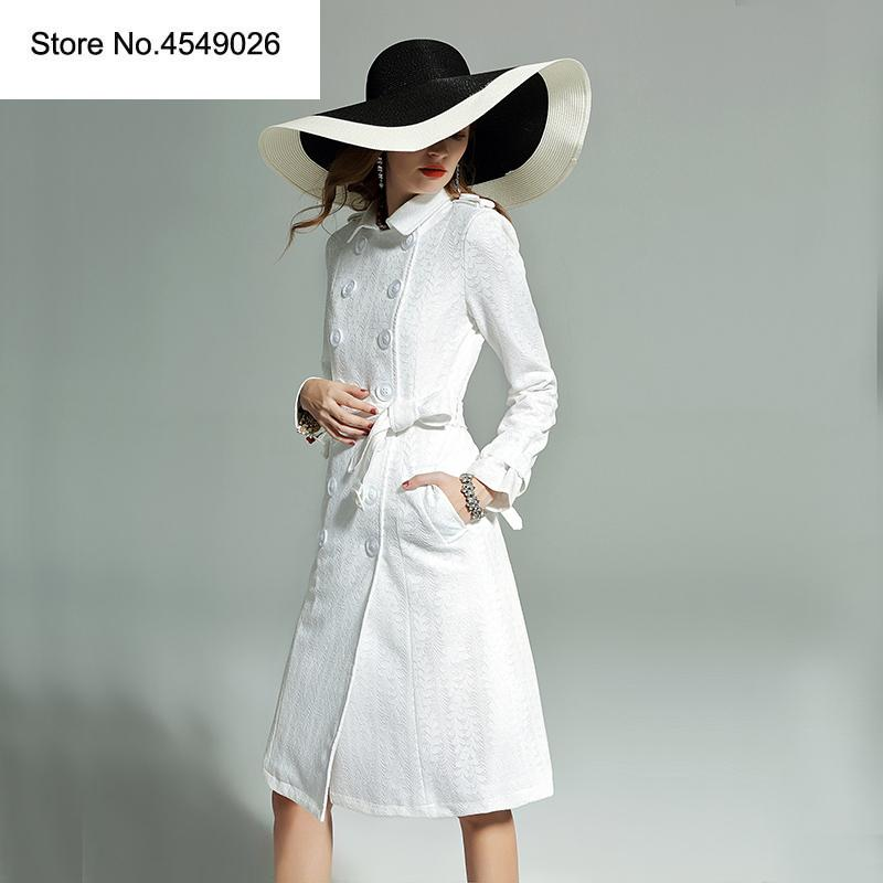 High Quality Women\'s 2019 New Fashions Spring Long Sleeve Turn Down Collar  White Coat High Street Long Trench Outwear H6907.