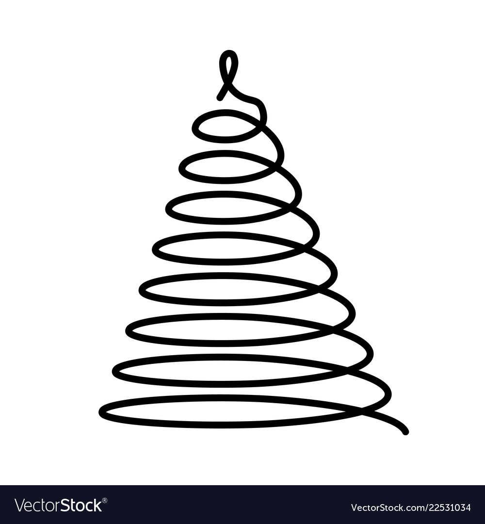 Christmas tree thin black wired spiral in a shape.