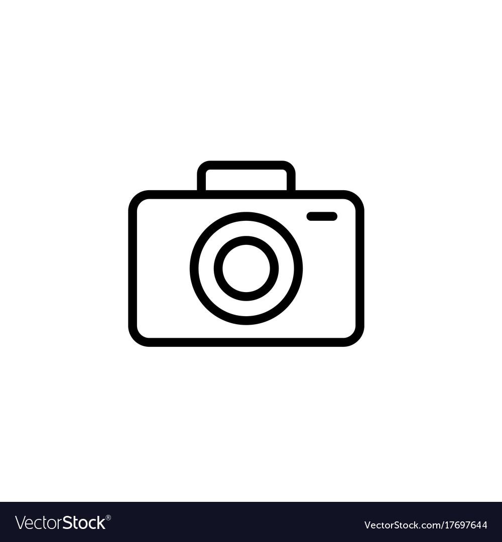Camera icon thin line black on white background.