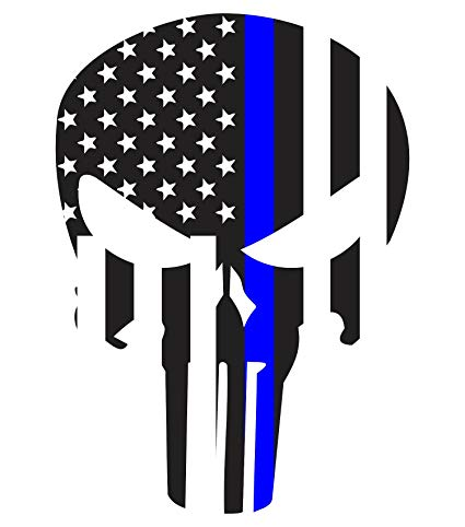 Amazon.com: Morale Tags Thin Blue Line Punisher 5.5 x 3.9.