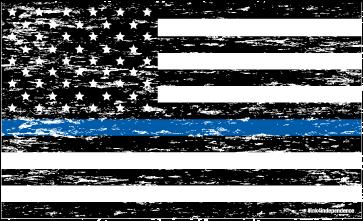 Grunge Thin Blue Line American Flag Decal 5 X 3 Inch.