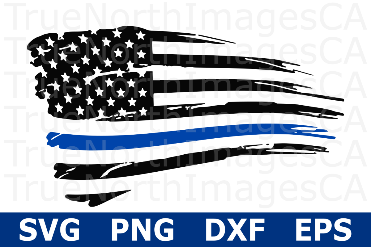 Thin Blue LIne Distressed Flag.