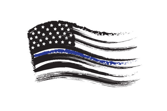 Distressed American flag with thin blue line.