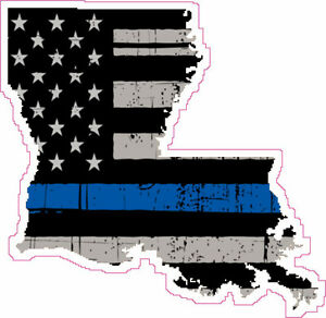 Details about Thin Blue Line Police Louisiana US Flag Distressed Vinyl  Sticker Decal 4 inch.