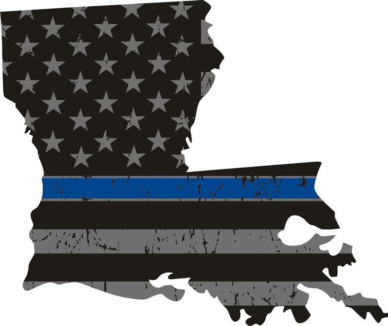 Louisiana: Thin Blue Line Distress Flag Louisana State Decal.