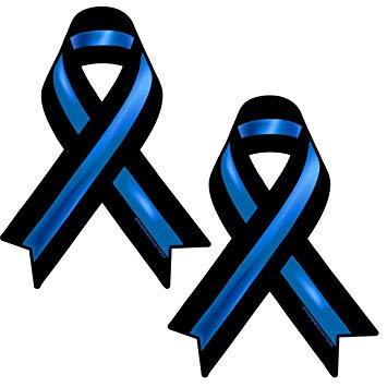 AZHG Thin Blue Line Ribbon Stickers 2 Pack.
