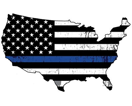 Blue Lives Matter Thin Blue Line Police Officer United States Outline Flag  Vinyl Decal Bumper Sticker For Car Truck RV SUV & Boats Window Support Of.