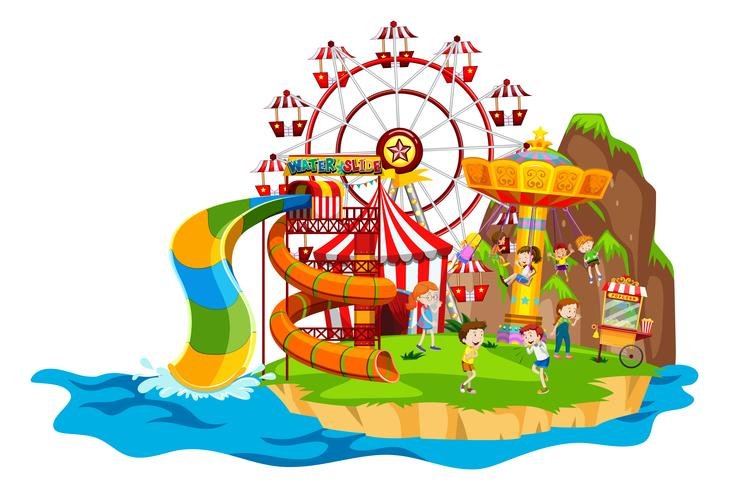 Scene with children playing rides.
