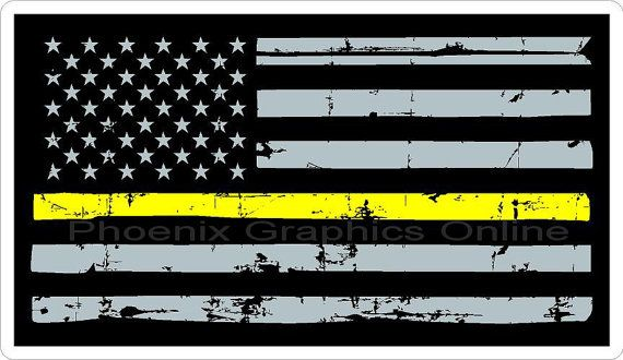 Thin Gold Line Thin Yellow Line Dispatcher Flag by.