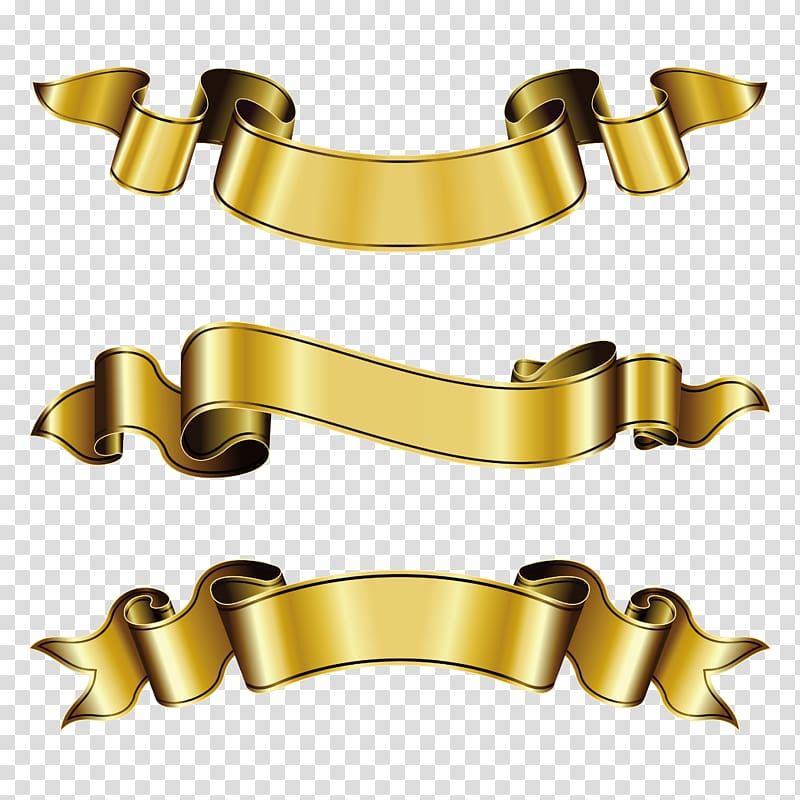 Three gold ribbons , Ribbon Gold , ribbon banner transparent.