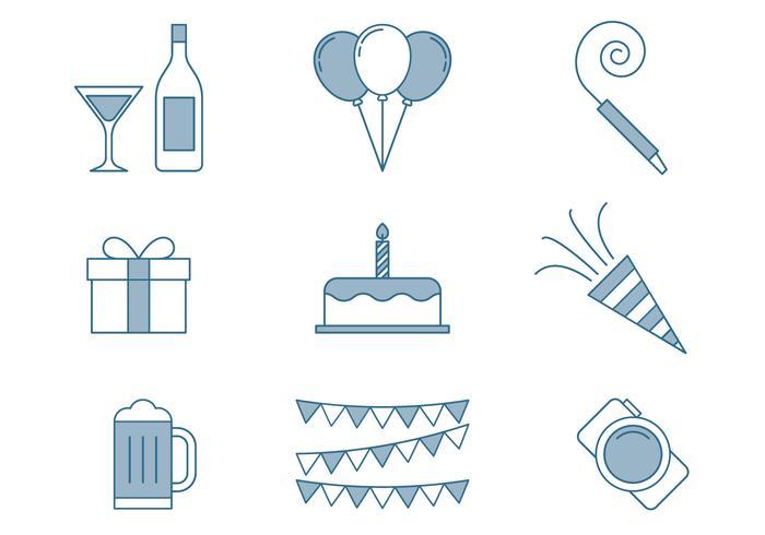 Birthday Icons Thin Line Set.
