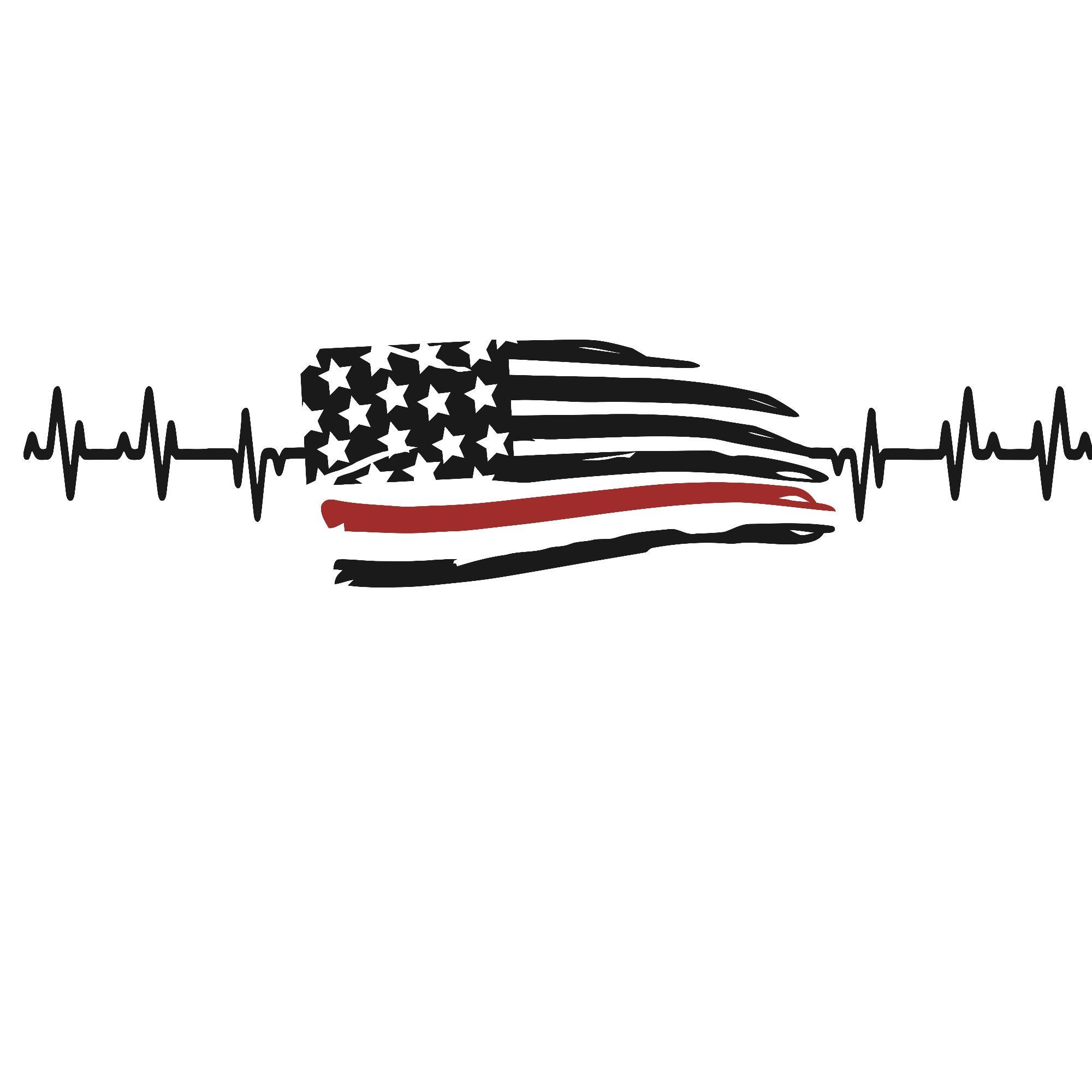 Thin Red Line Flag Heartbeat Vinyl Decal by CityVinyl on.