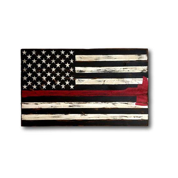 Thin Red Line Flag/ Firefighter Axe Sign/ Firefighter Gift.