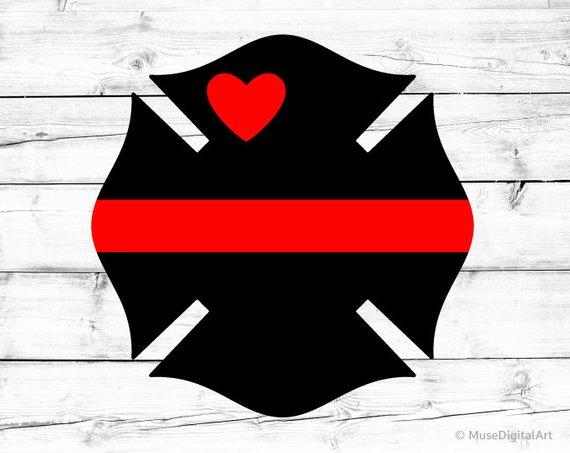 Svg Fire Dept Badge Svg Fire Department Badge with Heart Svg.