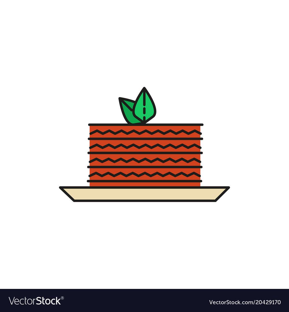 Cake slice food thin line icon.