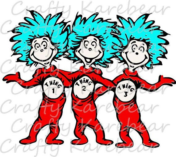 Thing 1 Thing 2 Thing 3 SVG Digital File.