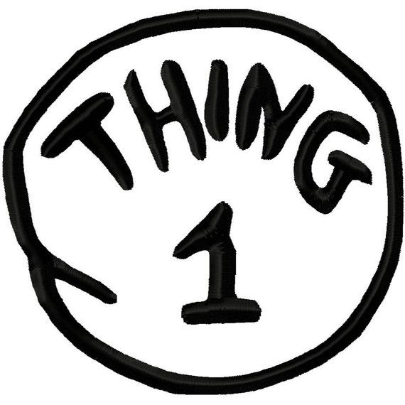 Thing 1 Applique Machine Embroidery Design 3x3 4x4 by.